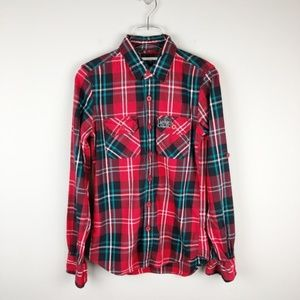 Superdry Co. Red & Green Flannel Button Down (S)